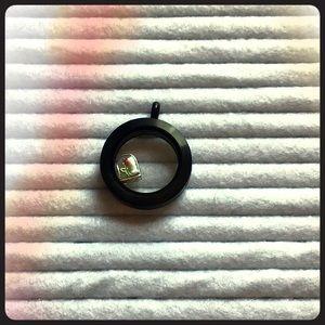 Medium matte black locket w/ rose charm